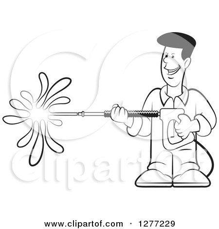 Clipart of a Happy Black and White Man Operating a Power Washer - Royalty Free Vector Illustration by Lal Perera