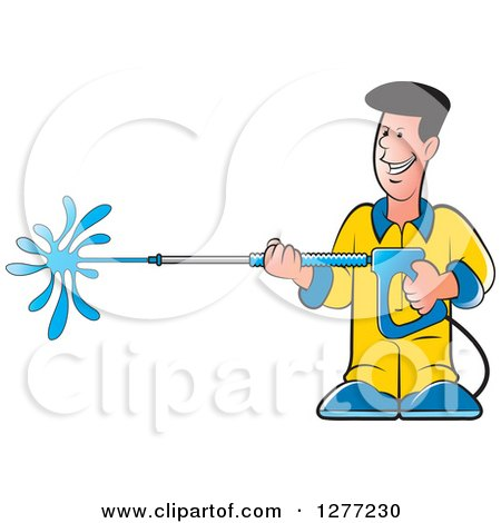 Clipart of a Happy Caucasian Man Operating a Power Washer - Royalty Free Vector Illustration by Lal Perera