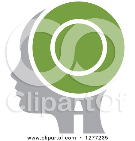 Clipart of a Gray Silhouetted Woman's Head in Profile, with a Green Magnifying Glass - Royalty Free Vector Illustration by Lal Perera
