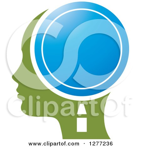 Clipart of a Green Silhouetted Woman's Head in Profile, with a Blue Magnifying Glass - Royalty Free Vector Illustration by Lal Perera