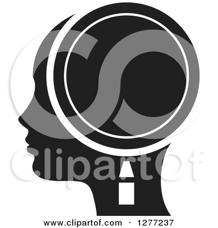 Clipart of a Black Silhouetted Woman's Head in Profile, with a Magnifying Glass - Royalty Free Vector Illustration by Lal Perera