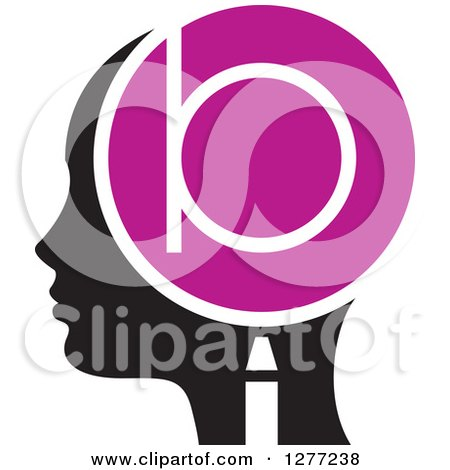 Clipart of a Black Silhouetted Woman's Head in Profile, with a Letter B in a Magnifying Glass - Royalty Free Vector Illustration by Lal Perera