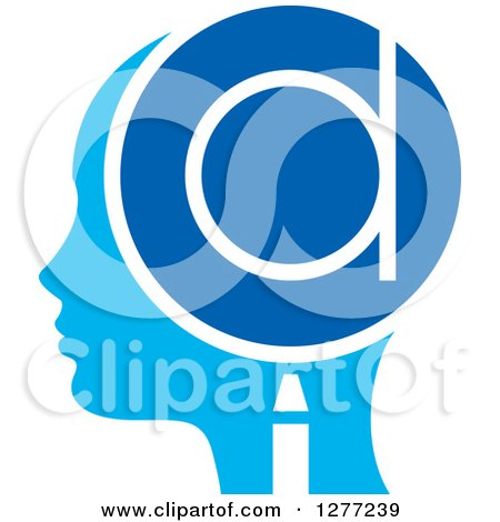 Clipart of a Blue Silhouetted Woman's Head in Profile, with a Letter D in a Magnifying Glass - Royalty Free Vector Illustration by Lal Perera