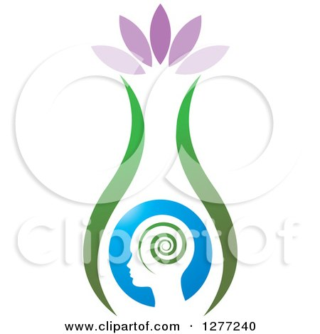 Clipart of a Silhouetted Head with Petals and a Spiral in a Vase - Royalty Free Vector Illustration by Lal Perera