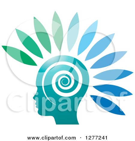 Clipart of a Silhouetted Head with Gradient Petals and a Spiral - Royalty Free Vector Illustration by Lal Perera
