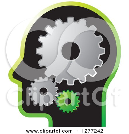 Clipart of a Black Silhouetted Man's Head with Gears - Royalty Free Vector Illustration by Lal Perera