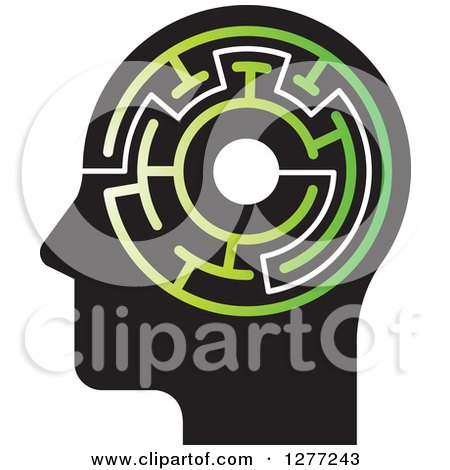 Clipart of a Black Silhouetted Man's Head with a Green Maze - Royalty Free Vector Illustration by Lal Perera
