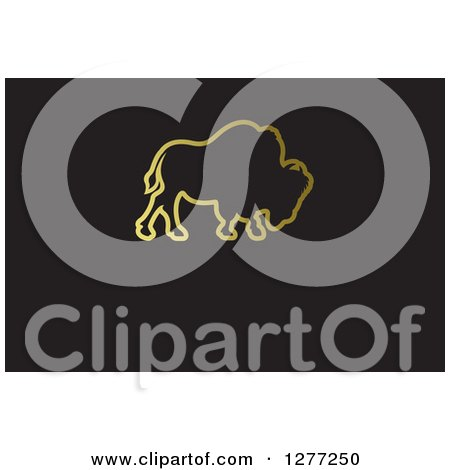 Clipart of a Gold Outlined Buffalo on Black with Text Space - Royalty Free Vector Illustration by Lal Perera