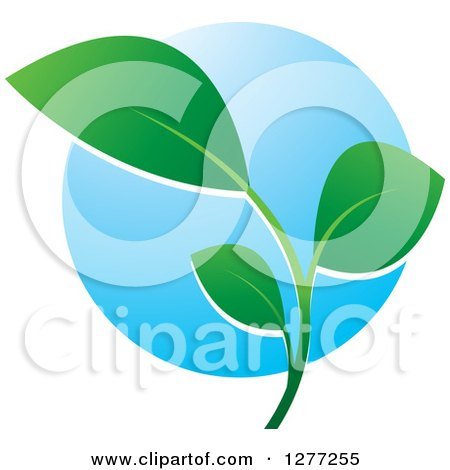 Clipart of a Green Seedling Plant over a Blue Circle - Royalty Free Vector Illustration by Lal Perera