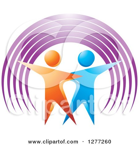 Clipart of a 3d Orange and Blue Couple Dancing Under a Purple Arch - Royalty Free Vector Illustration by Lal Perera