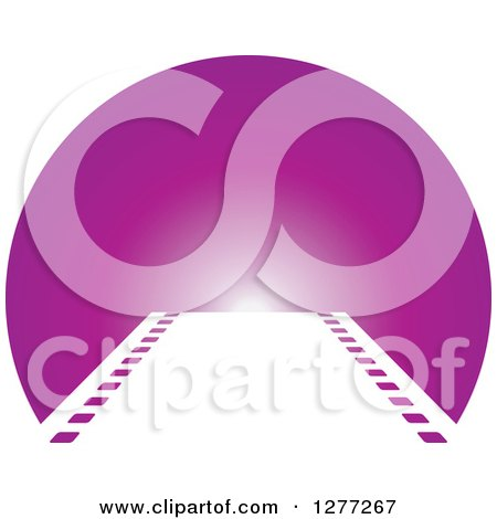 Clipart of a Film Strip Leading to a Purple Circle - Royalty Free Vector Illustration by Lal Perera