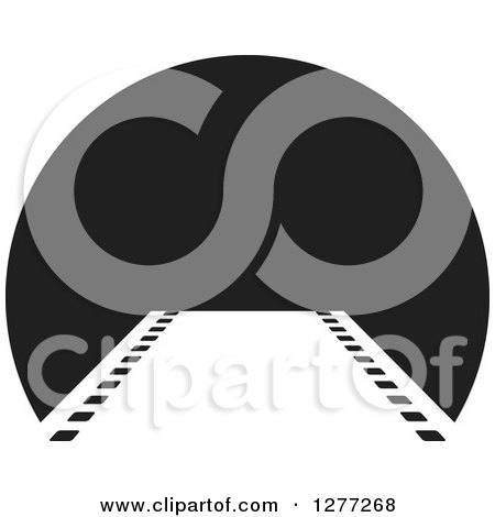 Clipart of a Film Strip Leading to a Black Circle - Royalty Free Vector Illustration by Lal Perera