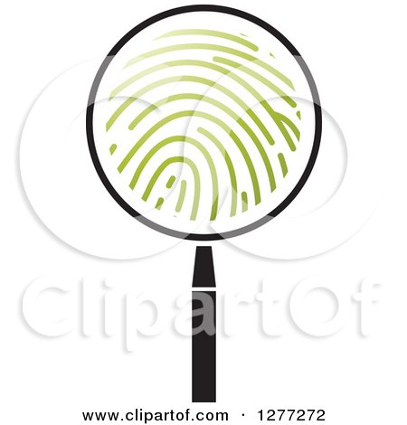 Clipart of a Black and White Magnifying Glass with Green Finger Prints - Royalty Free Vector Illustration by Lal Perera