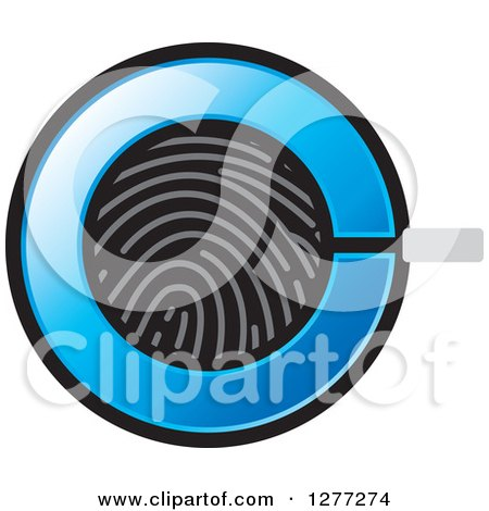 Clipart of a Fingerprint and Blue Magnifying Glass Icon - Royalty Free Vector Illustration by Lal Perera