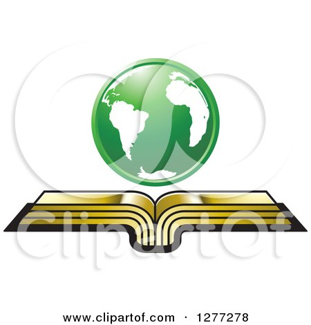 Clipart of a Green Globe over an Open Gold Book - Royalty Free Vector Illustration by Lal Perera