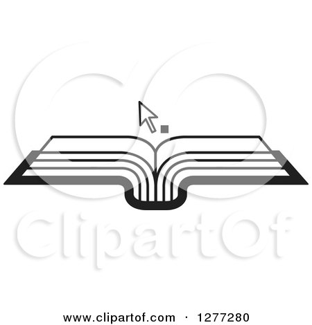 Clipart of a Black and White Cursor over an Open Book - Royalty Free Vector Illustration by Lal Perera