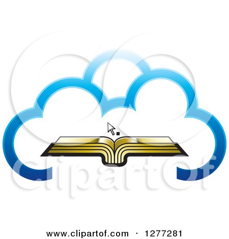 Clipart of a Cursor over an Open Gold Book in a Blue Cloud - Royalty Free Vector Illustration by Lal Perera