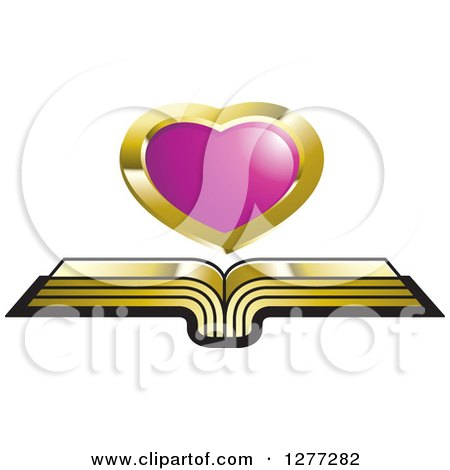 Clipart of a Cursor over an Open Gold Book - Royalty Free Vector Illustration by Lal Perera