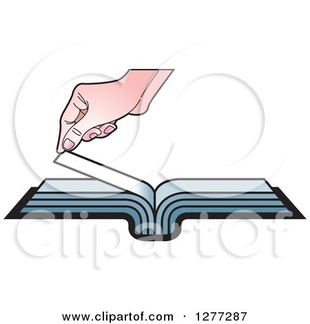 Clipart of a Caucasian Hand Turning a Book Page - Royalty Free Vector Illustration by Lal Perera