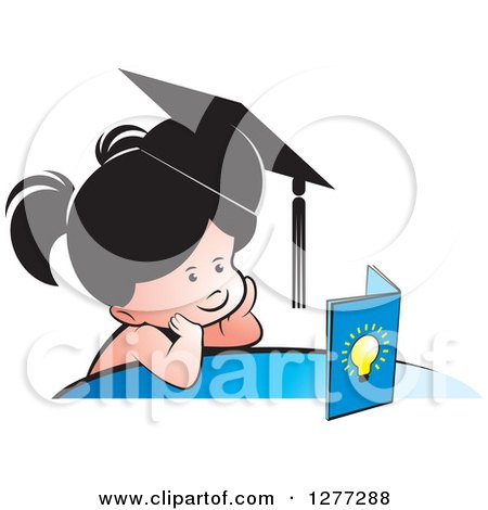 Clipart of a Thinking School Girl Wearing a Hat and Looking at a Book - Royalty Free Vector Illustration by Lal Perera