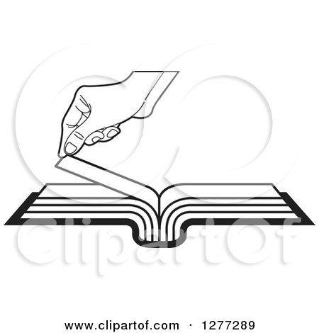 Clipart of a Black and White Hand Turning a Book Page - Royalty Free Vector Illustration by Lal Perera