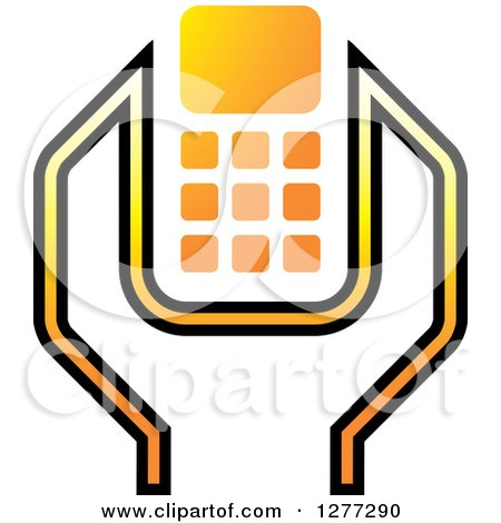Clipart of a White Black and Yellow Wrench and Cell Phone Settings Icon - Royalty Free Vector Illustration by Lal Perera