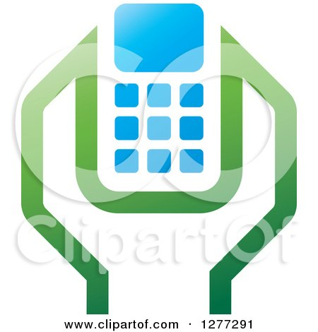Clipart of a Green Blue and White Wrench and Cell Phone Settings Icon 2 - Royalty Free Vector Illustration by Lal Perera