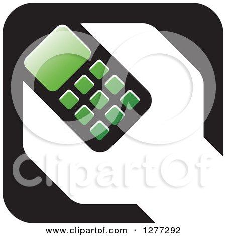 Clipart of a Black White and Green Wrench and Cell Phone Settings Icon - Royalty Free Vector Illustration by Lal Perera