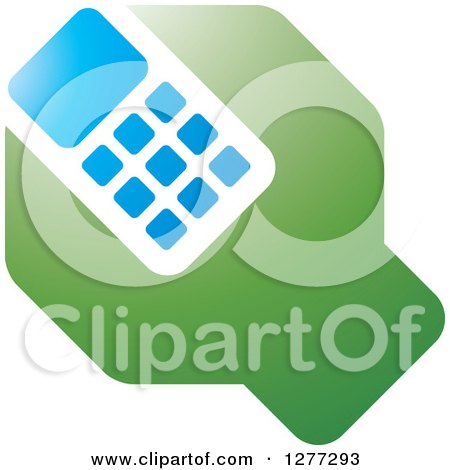 Clipart of a Green Blue and White Wrench and Cell Phone Settings Icon - Royalty Free Vector Illustration by Lal Perera