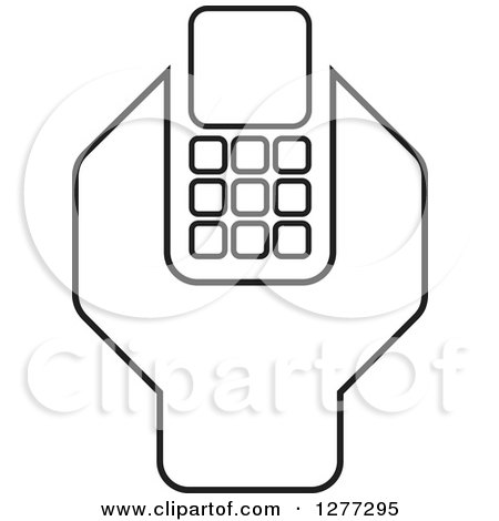 Clipart of a Black and White Wrench and Cell Phone Settings Icon - Royalty Free Vector Illustration by Lal Perera