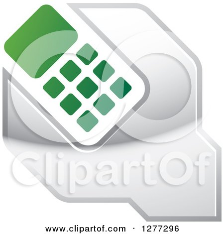 Clipart of a Green White and Silver Wrench and Cell Phone Settings Icon - Royalty Free Vector Illustration by Lal Perera