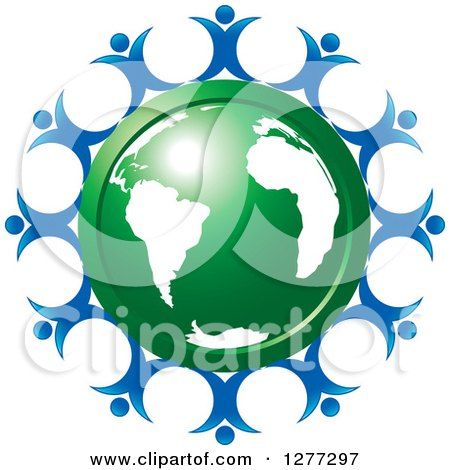 Clipart of a Shiny Green Earth Encircled with Happy Blue People - Royalty Free Vector Illustration by Lal Perera