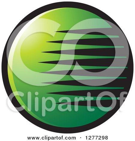 Clipart of a Black and Green Globe with Streaks - Royalty Free Vector Illustration by Lal Perera