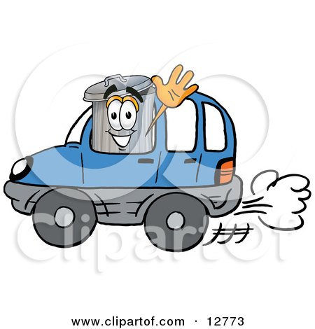 Clipart Picture of a Garbage Can Mascot Cartoon Character Driving a Blue Car and Waving by Toons4Biz