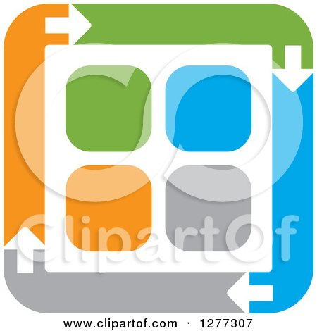 Clipart of a Blue Gray Orange and Green Square of Arrows Around Tiles - Royalty Free Vector Illustration by Lal Perera