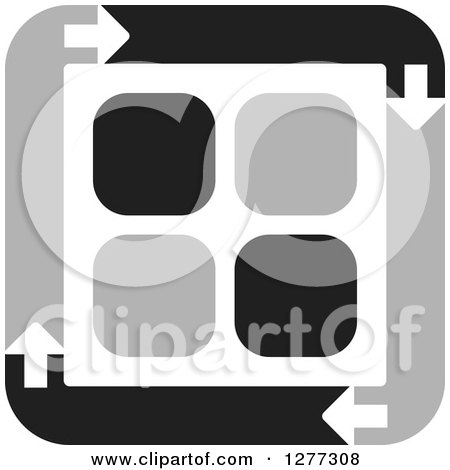 Clipart of a Black and Gray Square of Arrows Around Tiles - Royalty Free Vector Illustration by Lal Perera