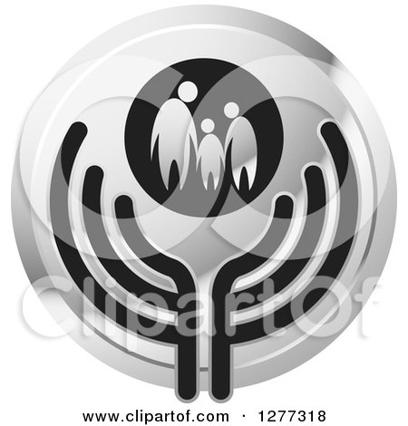 Clipart of a Round Silver Icon of a Family Holding Hands over Abstract Wings - Royalty Free Vector Illustration by Lal Perera