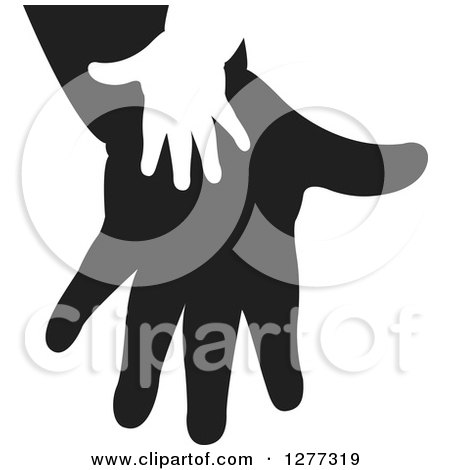 Clipart of a White Silhouetted Child's Hand on a Black Parent's Hand - Royalty Free Vector Illustration by Lal Perera