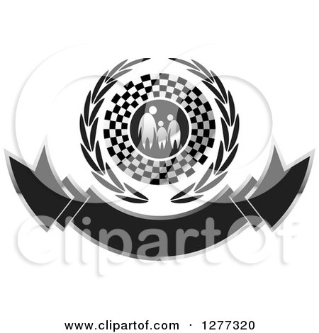Clipart of a Silver Family Holding Hands in a Checkered Flag and Wreath over a Banner - Royalty Free Vector Illustration by Lal Perera