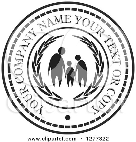 Clipart of a Black and White Design of a Family with Sample Text 2 - Royalty Free Vector Illustration by Lal Perera