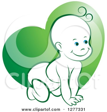 Clipart of a Happy Crawling Baby over a Green Heart - Royalty Free Vector Illustration by Lal Perera