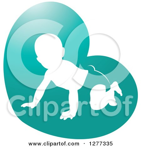 Clipart of a White Silhouetted Baby Crawling in a Diaper in a Turquoise Heart - Royalty Free Vector Illustration by Lal Perera