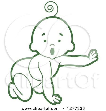 Clipart of a Surprised Green Baby Crawling in a Diaper and Reaching out - Royalty Free Vector Illustration by Lal Perera