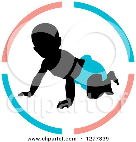 Clipart of a Black Silhouetted Baby Crawling in a Blue Diaper Inside a Circle - Royalty Free Vector Illustration by Lal Perera