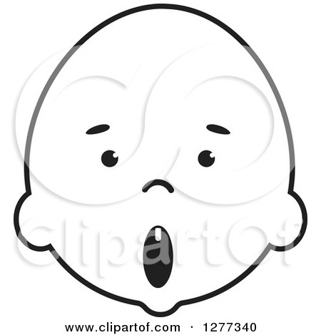 Clipart of a Surprised Black and White Baby Face - Royalty Free Vector Illustration by Lal Perera