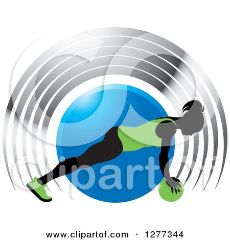 Clipart of a Black Silhouetted Woman Exercising with a Ball over a Blue Circle and Silver Arches - Royalty Free Vector Illustration by Lal Perera