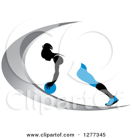 Clipart of a Black Silhouetted Woman Exercising with a Ball on a Silver Swoosh - Royalty Free Vector Illustration by Lal Perera