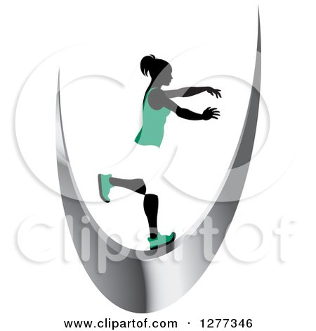 Clipart of a Silhouetted Woman Balancing on a Silver Swoosh - Royalty Free Vector Illustration by Lal Perera