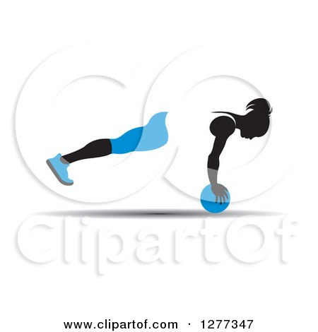 Clipart of a Black Silhouetted Woman Exercising and Balancing with a Blue Medicine Ball - Royalty Free Vector Illustration by Lal Perera