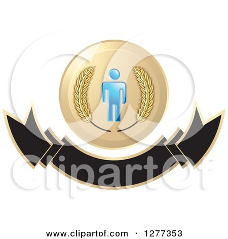 Clipart of a Wheat Stalks and a Blue Man over a Blank Banner - Royalty Free Vector Illustration by Lal Perera